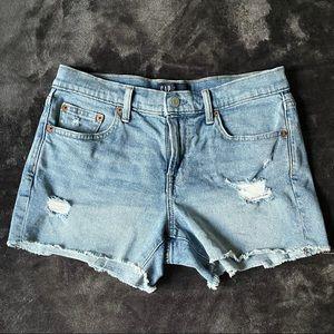 GAP Blue Denim Shorts with Raw Hem Distressed